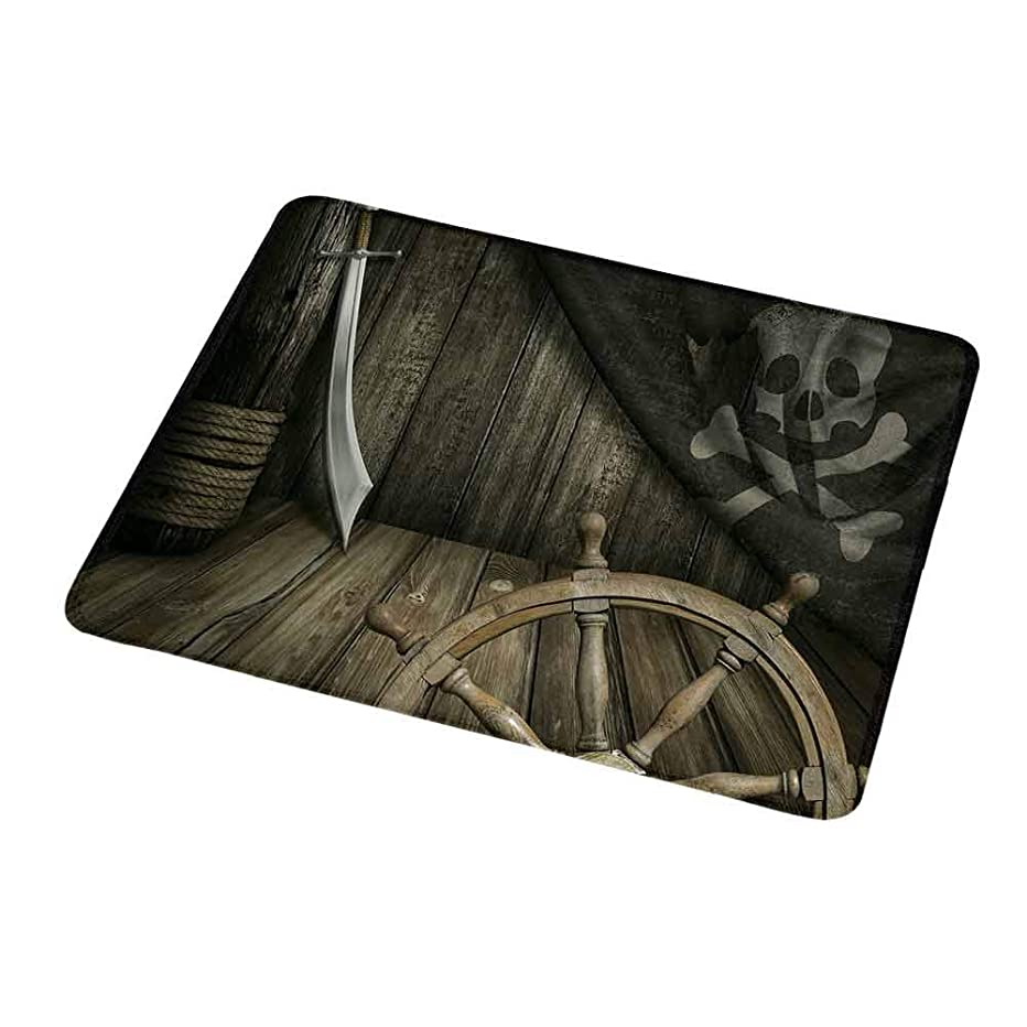 Gaming Mouse Pad Custom Design Mat Ships Wheel,Steering Wheel with Old Jolly Roger Flag and Saber in Pirates Ship Control Room Art,Brown,Non-Slip Rubber Mousepad 9.8