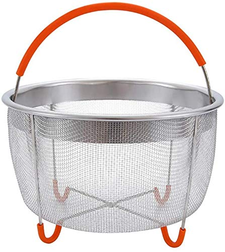 6QT Steamer Cooker Stainless Steel for Instant Pot Pressure with Silicone Covered Handle Drying Basket Kitchen Cooking Tools,Orange