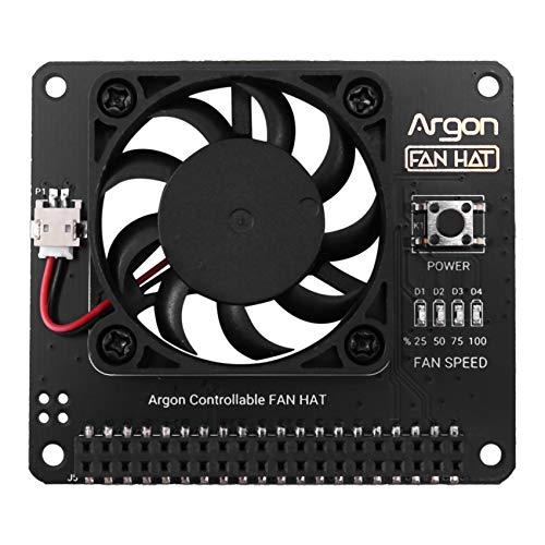 Nrpfell Ventilador de ArgóN Hat para Raspberry Pi 4/3 Ventilador de RefrigeracióN con Velocidad Ajustable por Software/Ventilador Grande de 40 Mm para Raspberry Pi4