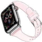 Miimall - Pulsera de silicona suave y brillante, compatible con Apple Watch, 44 mm/42 mm, resistente al agua, deporte, iWatch, para Apple Watch Series 5/4/3/2/1, 44 mm/42 mm, color rosa