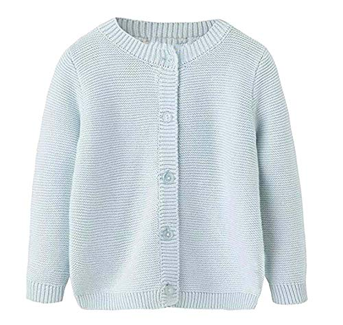 Baby Little Girls & Boys 100% Cotton Solid Knit Cardigan Sweaters For Winter Light Blue 12M