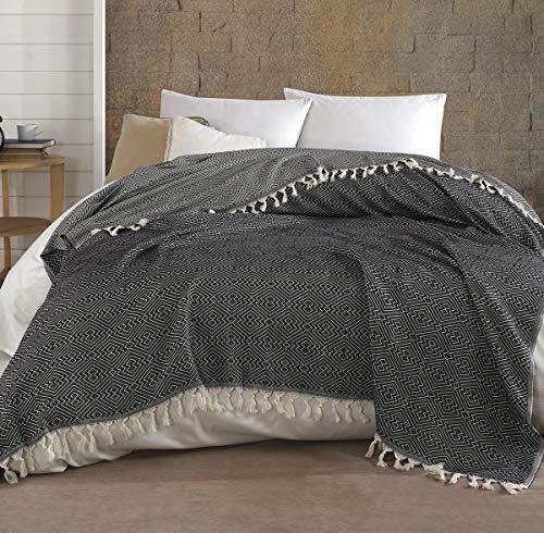 Belle Living Hitit Tagesdecke Überwurf Decke - Wohndecke hochwertig - perfekt für Bett & Sofa, 100prozent Baumwolle - handgefertigte Fransen, 200x250cm (Schwarz)