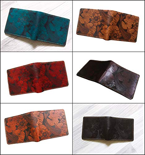 Unik4art - Personalized leather handmade men wallet, Koi Fish pattern wallet for men, christmas gift idea 2020, leather anniversary gift for him Missouri