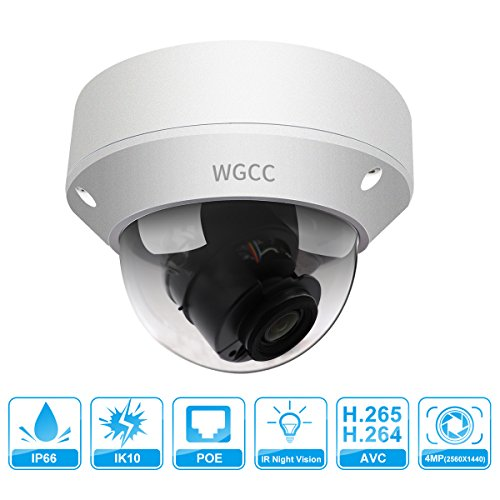 WGCC IP Poe Dome Camera, Unitech 4MP WDR Vandal-resistant Network Security Camera Outdoor with Micro SD Slot Audio Interface Support H.265 High Efficient Video Compression IP67 Waterproof 2.8mm Lens