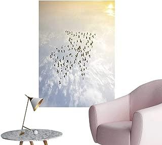 "SeptSonne Modern Decor Crow Birds Fly on Sky Growth Development Success Concept Nature Art Ideal Kids Decor or Adults,20"" W x 32"" L"