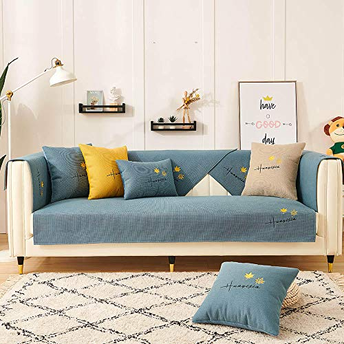 Homeen Sala Funda Protectora Sofa Cubierta de sofá para sofá de Tela/sofá de Cuero,Bordado de Hojas de Arce,Funda de sofá Antideslizante,sofá universales Modernos-Azul_70 * 70 cm