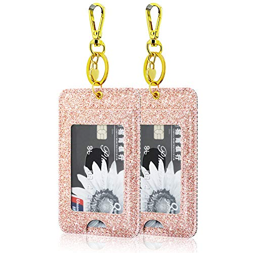 [2 Pack] ID Badge Holder, ACdream ID Badge Clip Key Chain Holder, PU Leather ID Badge Reel Clip Card Holder with Key Ring, Metal Clip, 2 Card Pockets, Glitter Rose Gold
