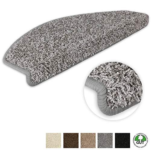Kettelservice-Metzker Stufenmatten Stufen Teppich Shaggy Queens halbrund Grau 15 Stück