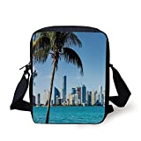 Coastal Decor,Miami Downtown with Biscayne Bay Buildings and Palm Tree Panoramic,Sky Blue Aqua Green Print Kids Crossbody Messenger Bag Purse