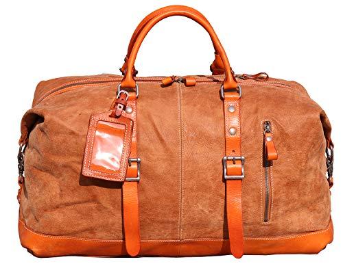 IBLUE Oversized Genuine Leather Travel Duffel Bag Weekend Luggage Bag...