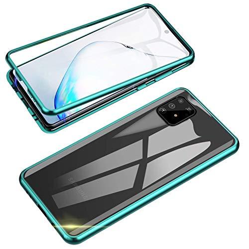 Funda para Samsung Galaxy S10 Lite,Carcasa Adsorción Magnética Marco de Metal de 360 ° + Vidrio Templado Transparente Delantero y Trasero Cubierta Ultrafina anticaída Cover