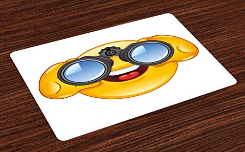 ABAKUHAUS Emoji Platzmatten, Smiley-Gesicht mit Fernglas-Fernglas-Gläsern, die außerhalb des Karikatur-Druckes überwachen, Tiscjdeco aus Farbfesten Stoff für das Esszimmer und Küch, Gelb und Blau