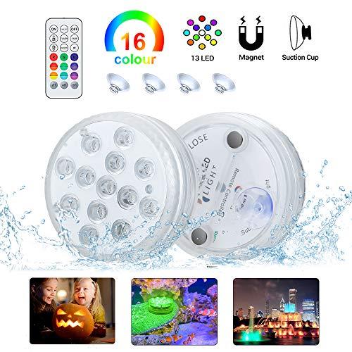 Komake Unterwasser LED Licht 2 Stück mit Fernbedienung, RGB Mehr Farbwechsel Wasserdichte IP68 LED-Leuchten für Blumen,Aquarium,Hochzeit,Schwimmkot,Halloween,Party,Weihnachten (2 stk)