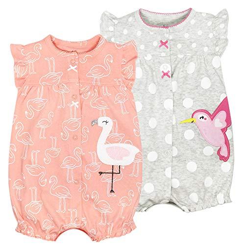 Baby Mädchen Sommer Pyjama 2PCS - Kurzarm Schlafstrampler Spieler Baumwolle Jumpsuit Kinder Strampler für Neugeborenes 6-9 Monate