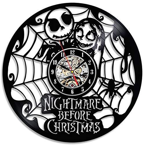 Reloj de pared de vinilo vintage con 7 iluminaciones Pesadilla antes de Navidad Reloj de pared Arte Reloj de pared Decoración para el hogar 12 pulgadas con luz LED