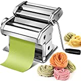 Pasta Maker Machine Hand Crank - Stainless Steel Roller Cutter Manual Noodle Makers  Making Tools...