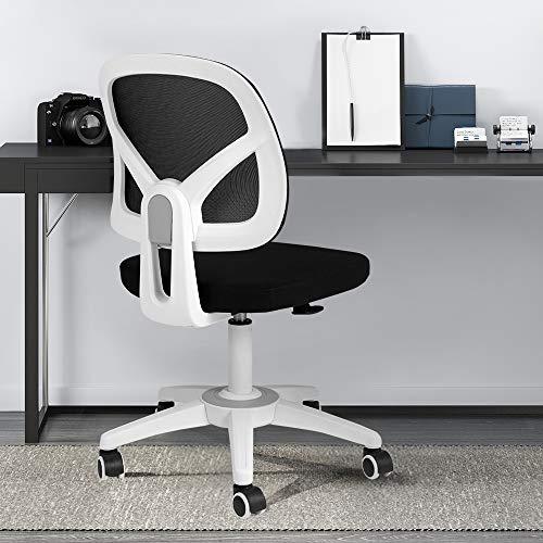 HBADA Bürostuhl, Netzstoff, ergonomischer Computerstuhl mit verstellbarer Höhe für Erwachsene und Kinder, weiß