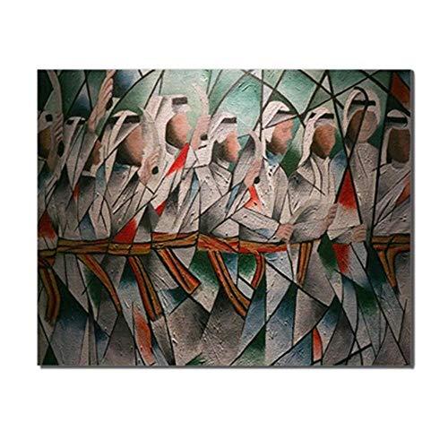 nobrand canvas kalligrafie schilderij Arabische mannen Graffitii wandkunst portret en druk Home Woonkamer Bruiloftsdecoratie 50X75cm_unframed