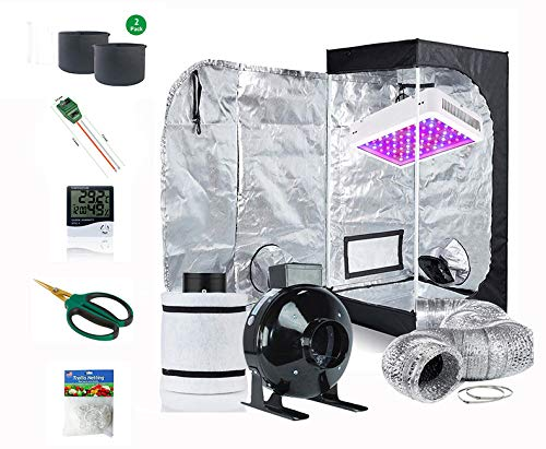 Supergrower Indoor Grow Tent + 600W LED Full Spectrum Grow Light Complete Kits for Indoor Plants 4 Inch Fan and Filter Ventilation System Inlcuded (4' Fan Filter+600W LED Light+Grow Tent 32'X32'X63')