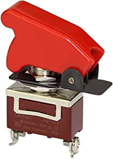 DaierTek 20A 125VAC Waterproof Safety Toggle Switch Marine Heavy Duty SPST ON-Off 2Pin Automotive Rocker Switch Metal 15A 250VAC with Red Aircraft Safety Cover