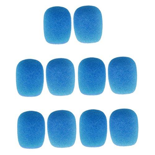 10 Unidades Micrófono Cubierta de Parabrisas Esponja a Prueba de Viento Portada Micro Tie - Azul
