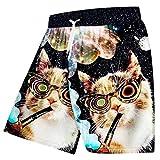 Pantalones Cortos Casuales De Verano para Hombres Cool Print Galaxy Space 3D Pantalones Cortos para Playa Pantalones Cortos De Bermudas De Animal Cat Pantalones De Secado RáPido Galaxy Space Cat L