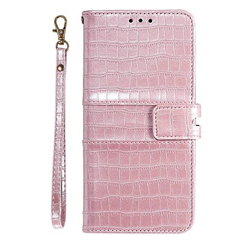 JZ Crocodile Pattern Design Funda For para Xiaomi Redmi Note 9 Pro/Redmi Note 9 Pro MAX/Redmi Note 9s Pure Color Flip Cover - Pink