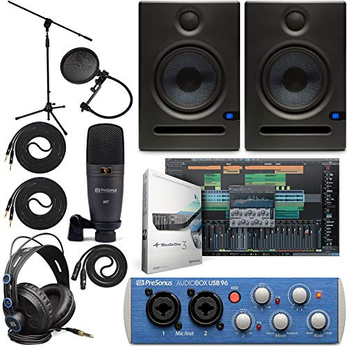 """Presonus AudioBox 96 Audio Interface Full Studio Bundle with Studio One Artist Software Pack w/Eris 5 Pair 2-Way Studio Monitors and 1/4"""" TRS to TRS Instrument Cable"""
