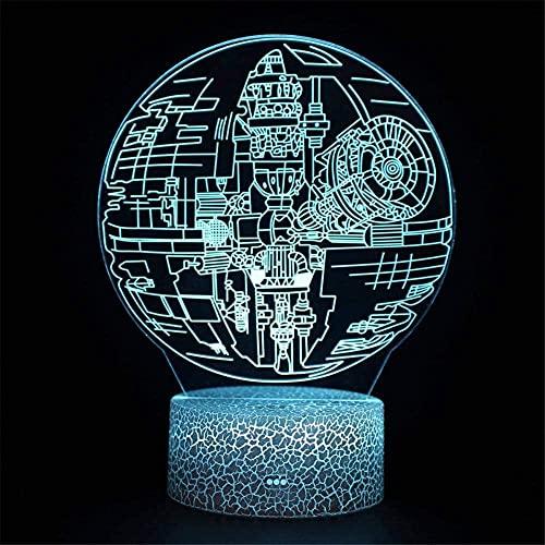 Todesstern-3D-Lampe, optische Illusion, Nachtlicht, LED-Gaming-Licht, Nachttischlampe für Mädchen und Jungen, Kinder im Alter von 5 4 3 1 6 2 7 8 9 10 11 Jahren