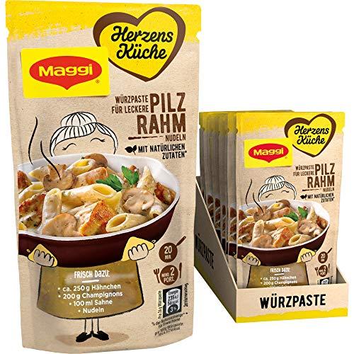 Maggi Herzensküche Pilz Rahm Nudeln, Würzpaste für Pilz-Rahm-Gerichte, Vegan, 10er Pack (10 x 65 g)