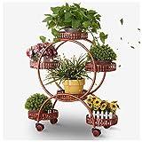 YILANJUN Étagère à Fleurs en Métal, avec roulettes de Frein, Porte Plante, Fer Forgé, Porte Pots Plante Fleurs, Support Jardin en Intérieur, Blanc, Noir, Cuivre Rouge, Bronze