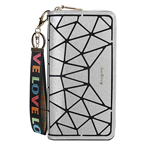 Women RFID Blocking Wallet Soft Glitter Geometric Purse Wristlet Women Travel Wallet Clutch for iphone XR/11/XS/7plus/Galaxy,with Credit Card Holder Keychain (Silver)