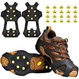 U UZOPI Ice & Snow Grips, Over Shoe/Boot Traction Cleat Anti Slip 10-Stud Crampons Slip-on Stretch Footwear for Men & Women, Extra 20 Studs (M)