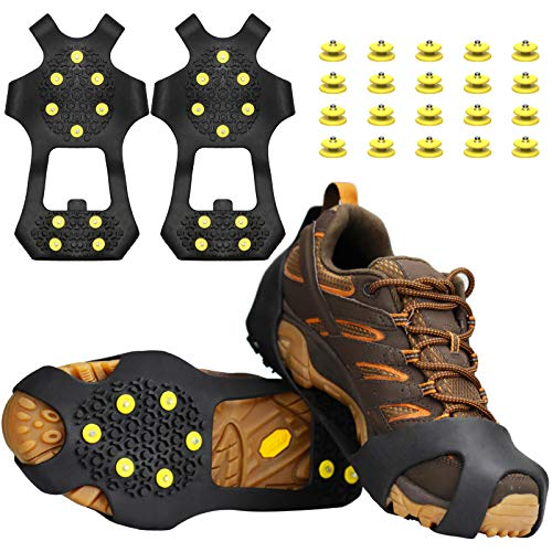 U UZOPI Ice & Snow Grips, Over Shoe/Boot Traction Cleat Anti Slip 10-Stud Crampons Slip-on Stretch Footwear for Men & Women, Extra 20 Studs (L)