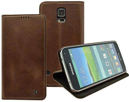 Suncase Handmade Book-Style (Slim-Fit) kompatibel mit Samsung Galaxy S5 / S5 Neo Hülle aus echtem Leder Tasche Lederhülle Schutzhülle Wallet Case in Coffee
