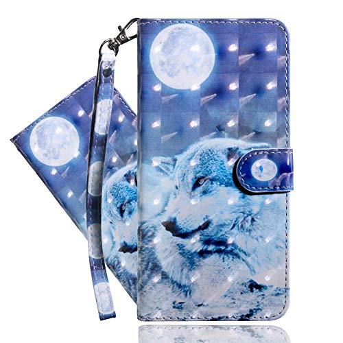 IMEIKONST LG K40 Hülle PU Leder 3D Muster Magnetic Clasp Schutzhülle bookstyle Card Holder Flip Brieftasche Ständer Tasche Handyhülle für LG K40 Moon Wolf BX