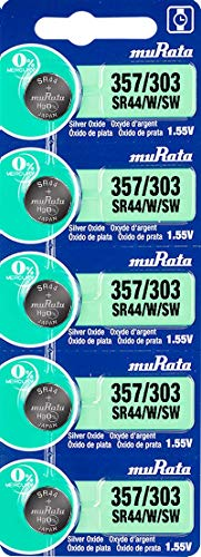 Murata 357/303 SR44/W/SW Battery 1.55V Silver Oxide Watch Button Cell - Replaces Sony 357/303 (5 Batteries)
