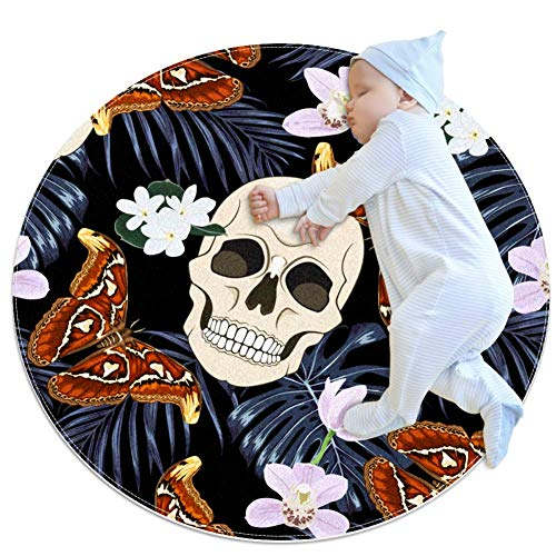 Skulls and Butterfly Baby Play Mats - Baby Crawling Mats for Boys and Girls - Children's Room Decor for Play Carpet Floor Carpets