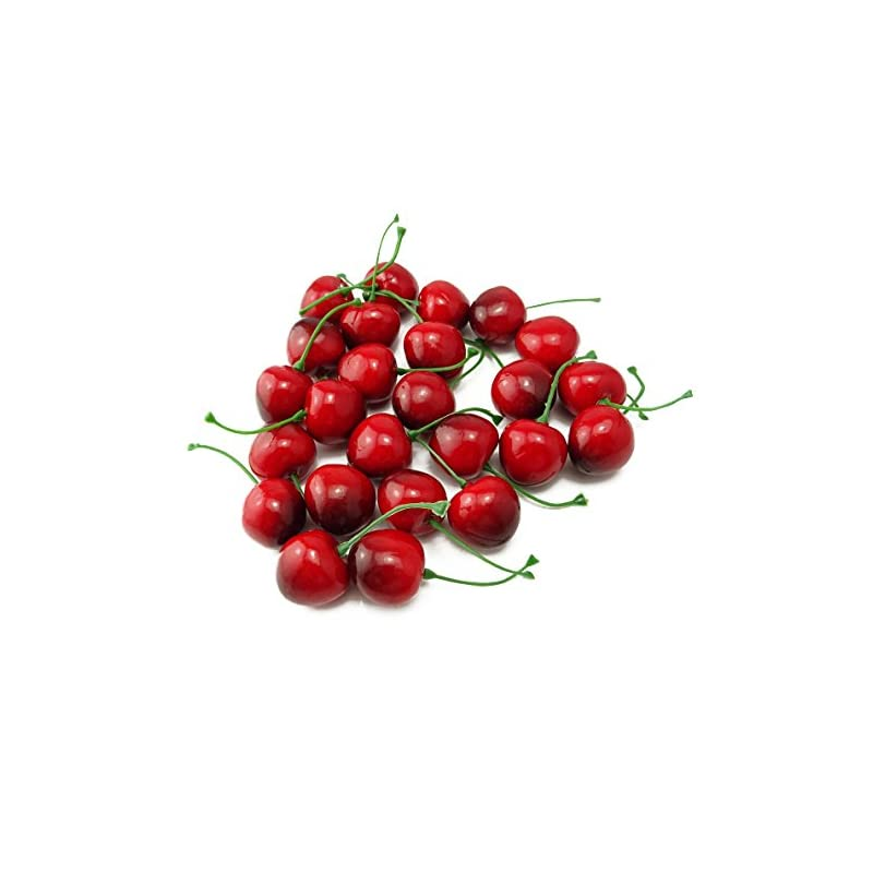 silk flower arrangements yueton pack of 25 artificial lifelike simulation small red black cherries fake fruit model home house kitchen party decoration desk ornament