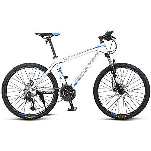 DelongKe 27.5 Zoll Mountainbike, Scheibenbremsen MTB, Trekkingrad Herren Bike Mädchen-Fahrrad, Vollfederung Mountain Bike, 27 Speed,Blau
