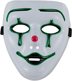 Halloween Scary Mask Glow LED Light Up Flash Clown Mask Creepy Cosplay Costumes for Party