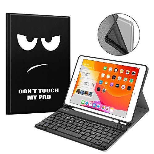 Fintie Tastatur Hülle für iPad 10.2 Zoll 7. Generation 2019, Soft TPU Rückseite Gehäuse Schutzhülle mit Pencil Halter, magnetisch Abnehmbarer Bluetooth Tastatur mit QWERTZ Layout, Don't Touch