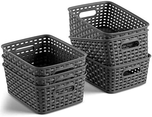 Set of 6 Plastic Storage Baskets Small Pantry Organizer Basket Bins Household Organizers with product image