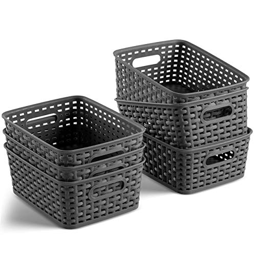 Set of 6 Plastic Storage Baskets - Small Pantry Organizer Basket Bins - Household Organizers with Cutout Handles for Kitchen Organization,...