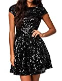 Red Dot Boutique 828 - Plus Size Cap Sleeves Sequins Skater Cocktail Club Dress Black (3X)