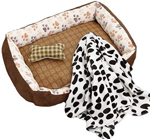 IUYJVR Cama para Mascotas Cama para Perros de Pana, Camas para Perros de Felpa Premium, Cama para Perros Muy Suave Funda extraíble para sofá de Animales, Totalmente Lavable, con tapete, Juguete, Ma