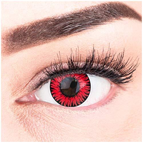 Farbige Rote Kontaktlinsen Anime Werewolf Red Circle Lenses Ohne Stärke Heroes Of Cosplay Stark Deckend Intensive Farben mit gratis Kontaktlinsenbehälter farbig für Halloween Fasching