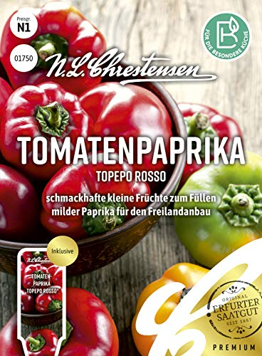 Tomatenpaprika Topepo rosso, schmackhafte kleine Früchte zum Füllen, Samen