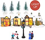 TOYLAND 12 Piezas Light Up Village Scene Set - Decoraciones Light Up - Decoraciones navideñas Tradicionales