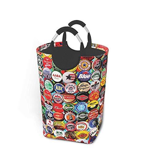 Just Life World Beer Bottle Caps Laundry Hamper Basket Bucket Foldable Dirty Clothes Bag Washing Bin Toy Storage Organizer for College Dorms, Kids Bedroom,Bathroom